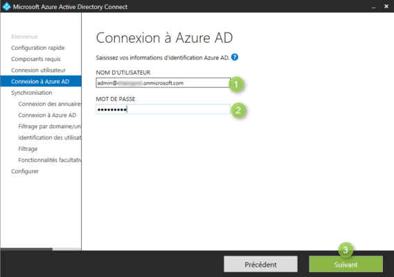 Azure AD Connect compte Office 365