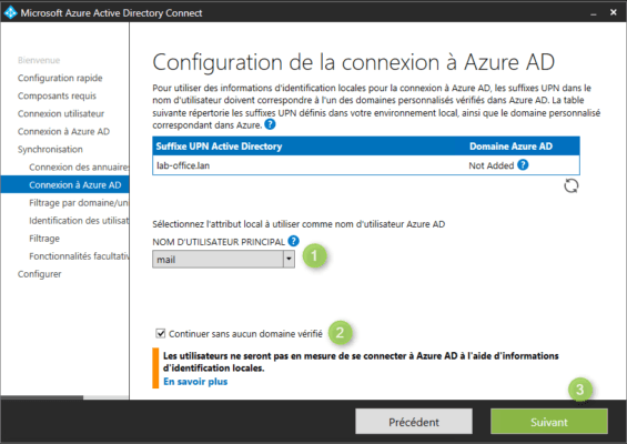 Azure AD Connect configure liaison