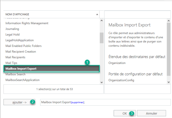 Add role mailbox import export