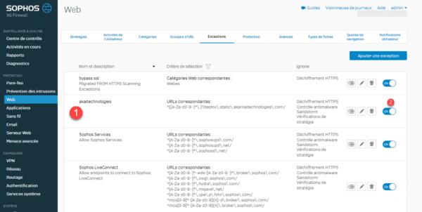 Sophos XG exception ajoutée