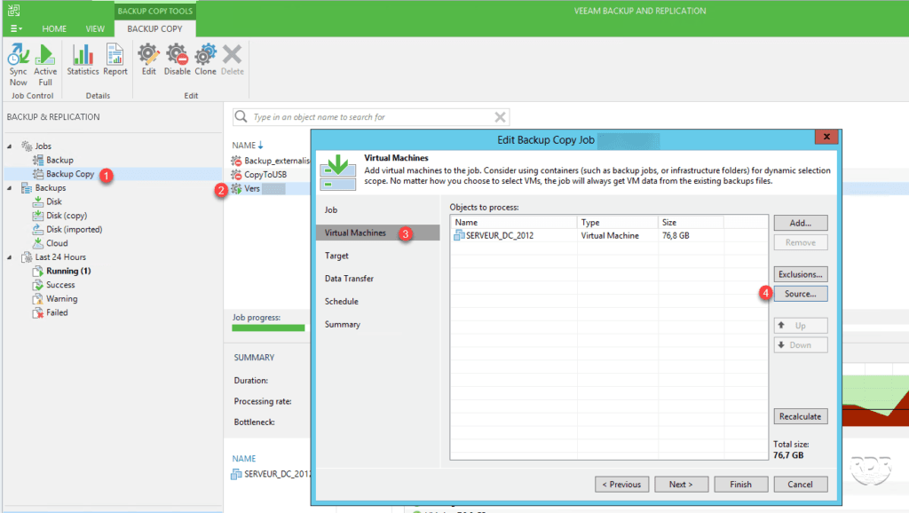 Veeam modifier job backup copy