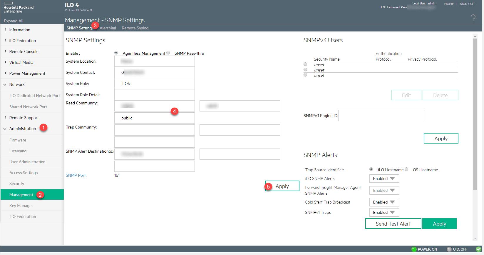 HPE ILO configuration du SNMP - RDR-IT