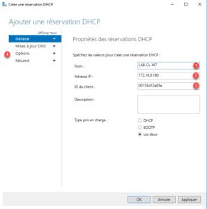 Réservation DHCP