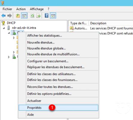 Propriétés serveur DHCP