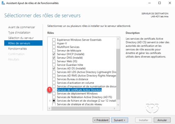 Choisir le rôle Services de certificats Active Directory