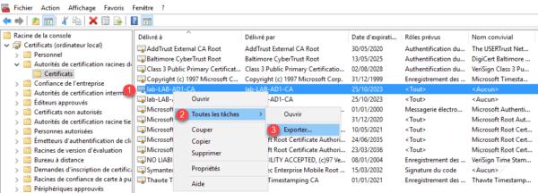 Export du certificat