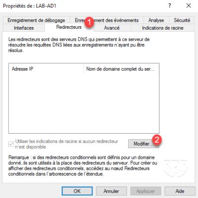 Proprietes DNS Server