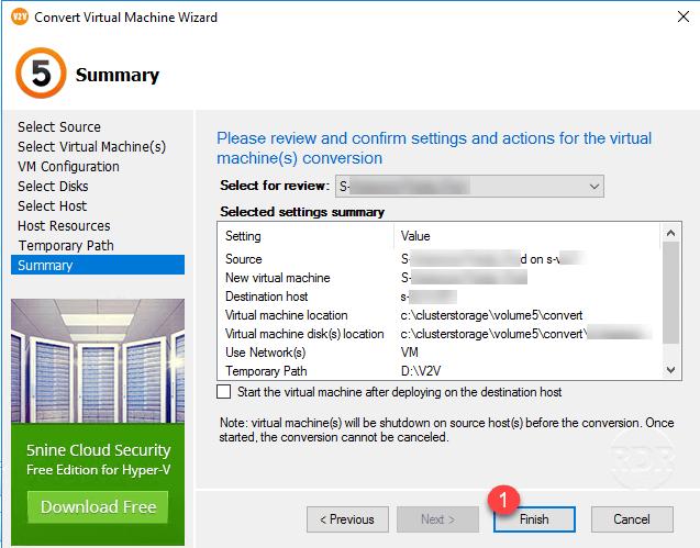 Convert a VMware VM to Hyper-V with 5Nine V2V Easy Converter - RDR-IT