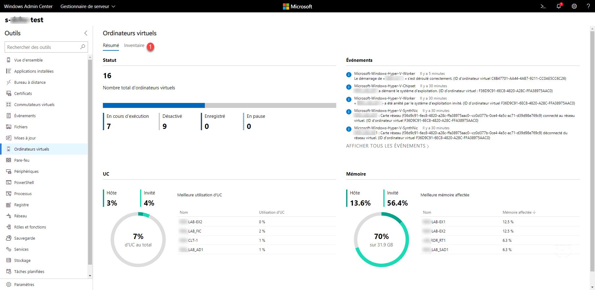 Admin Center - VM resume
