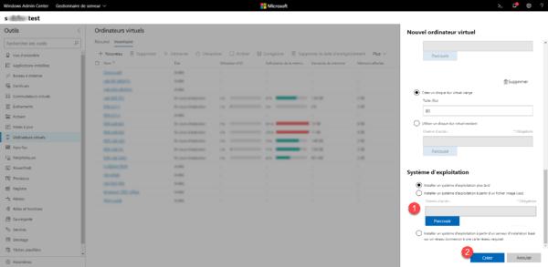 Admin Center - Create VM