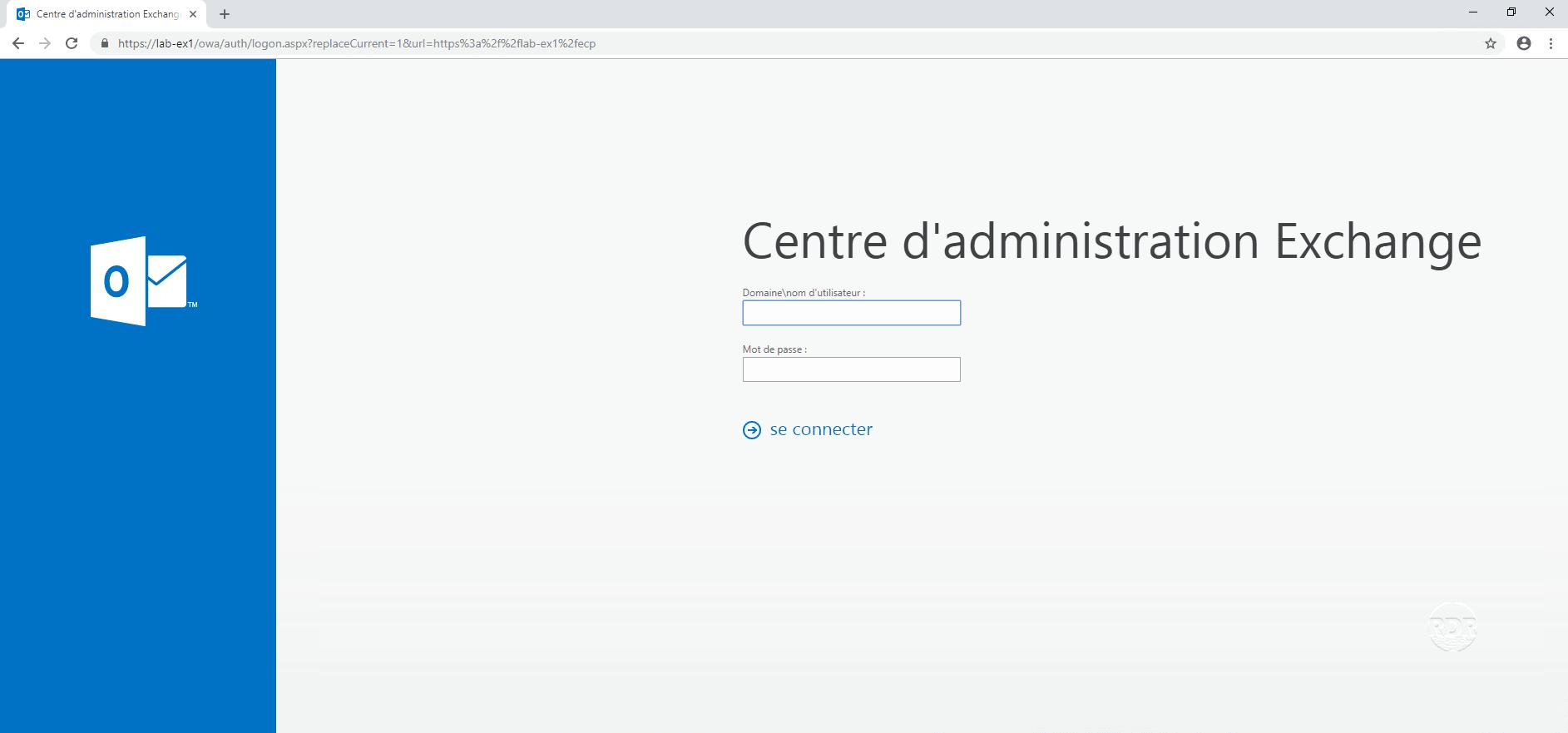 Exchange 2016 - page de connexion