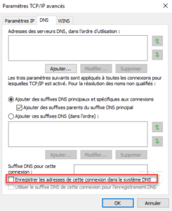 Disable register DNS