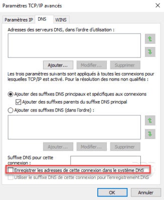 Disable register DNS