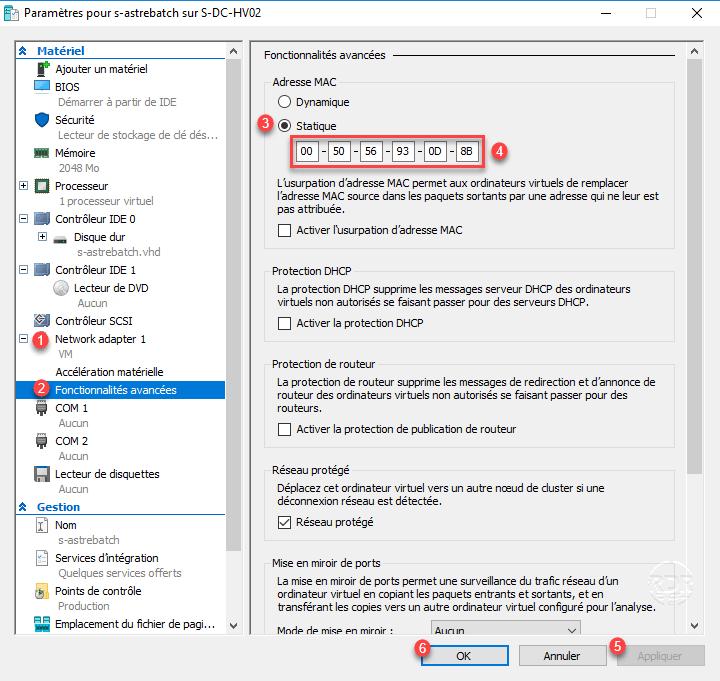 Hyper-V : modifier l'adresse MAC d'un ordinateur virtuel