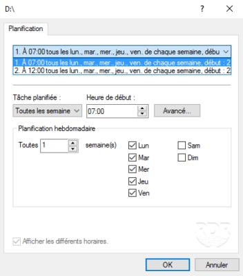 Default schedule