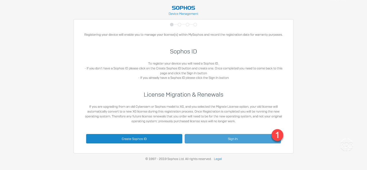 Sophos XG: installation on Hyper-V - Firewall registration