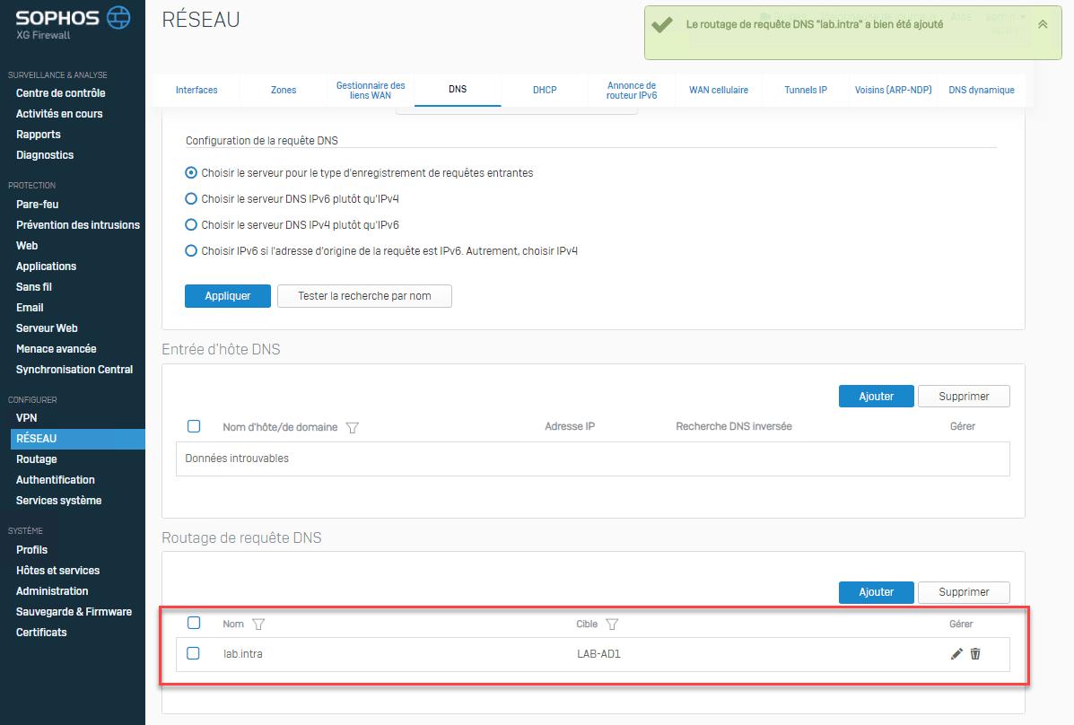 Sophos XG: routing DNS queries - RDR-IT