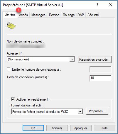 Serveur SMTP Propriétés