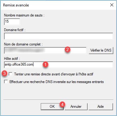 Configuration en relais vers Office 365