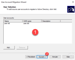ADMT - select user to migrate