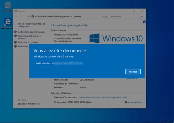Alert message on computer