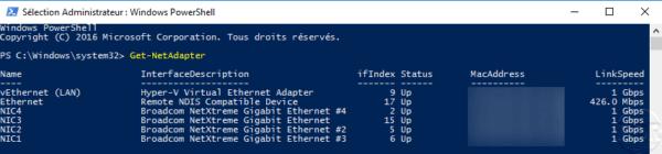 Network adapter list