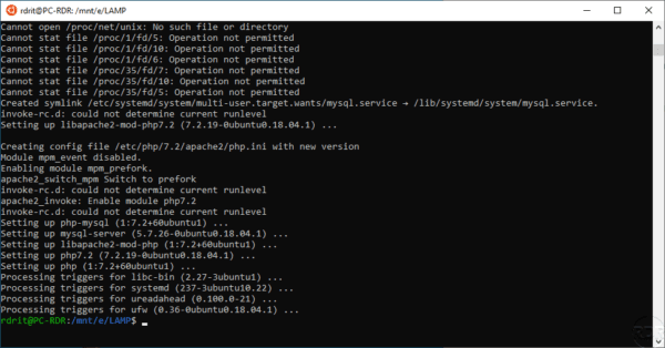 WSL - LAMP - Install completed
