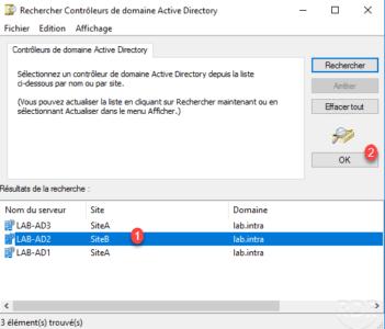 Choisir le contrôleur de domaine / select dc