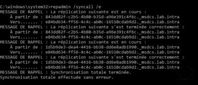 repadmin /syncall /e