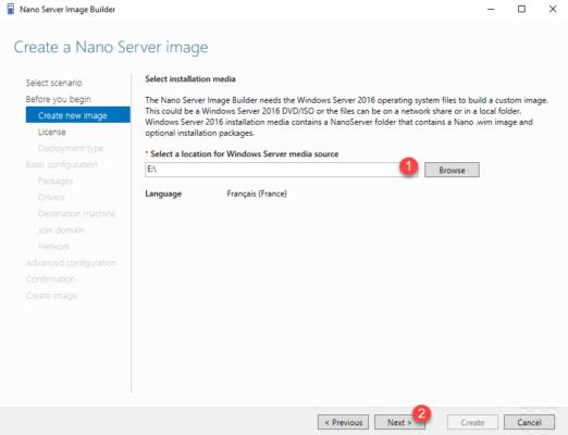Installation media for Nano Server Image Builder