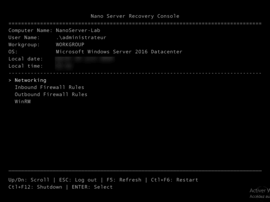 Nano Server Console