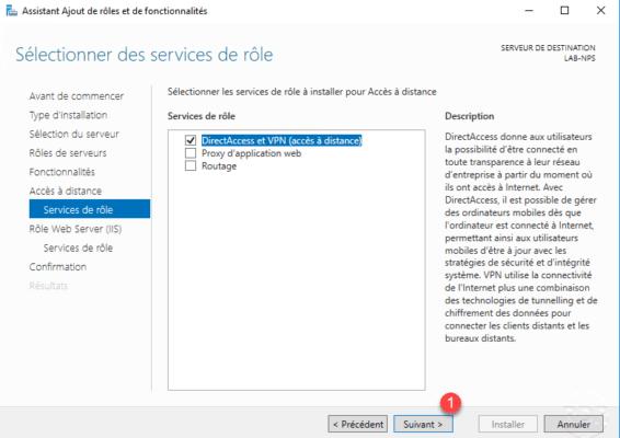 Services sélectionnés pour le serveur vpn / Services selected for the vpn server