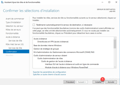 Démarrer l'installation du serveur VPN / Start the VPN server installation