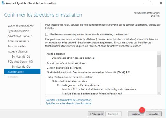 Démarrer l'installation du serveur VPN / Start the VPN server installation