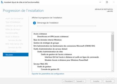 Patienter pendant l'installation du serveur VPN / Wait while installing the VPN server