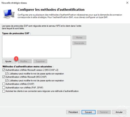 Configuration de l'authentification sur le serveur VPN / Configuring authentication on the VPN server