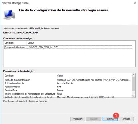 Stratégie configurée pour l'accès au serveur VPN / Policy configured for VPN server access