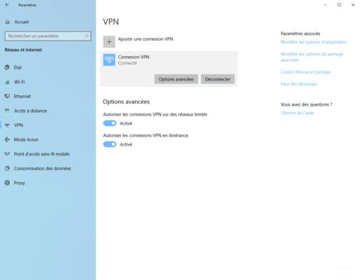 Connecté au serveur VPN / Connected to the VPN server