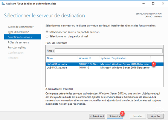 Select Server for install Windows Backup