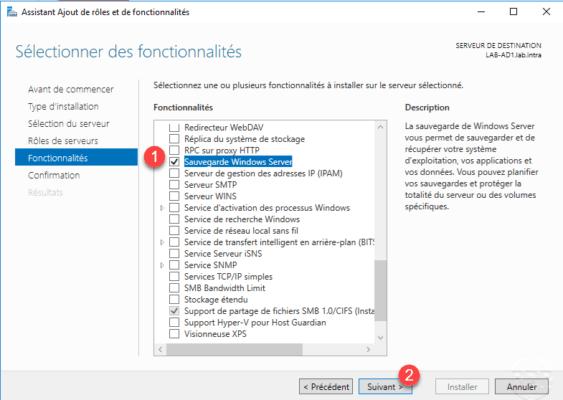 Select Windows Backup feature