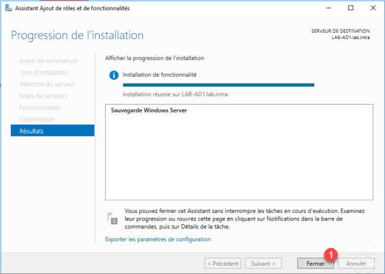 Windows Backup installation completed