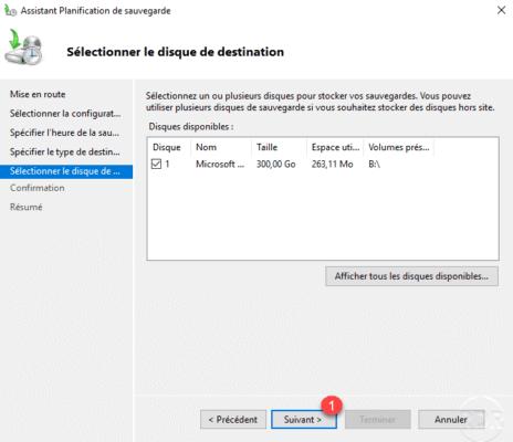 Disk selected for Windows Backup