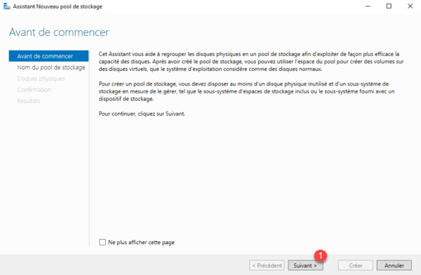 Assistant création pool de stockage / Create storage pool wizard