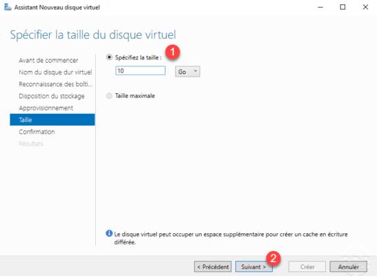 Virtual disk size