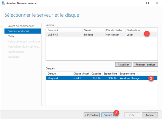Select Server and disk