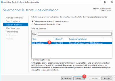 Select the server for the DirectAccess installation