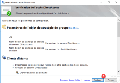 Apply the configuration at DirectAccess