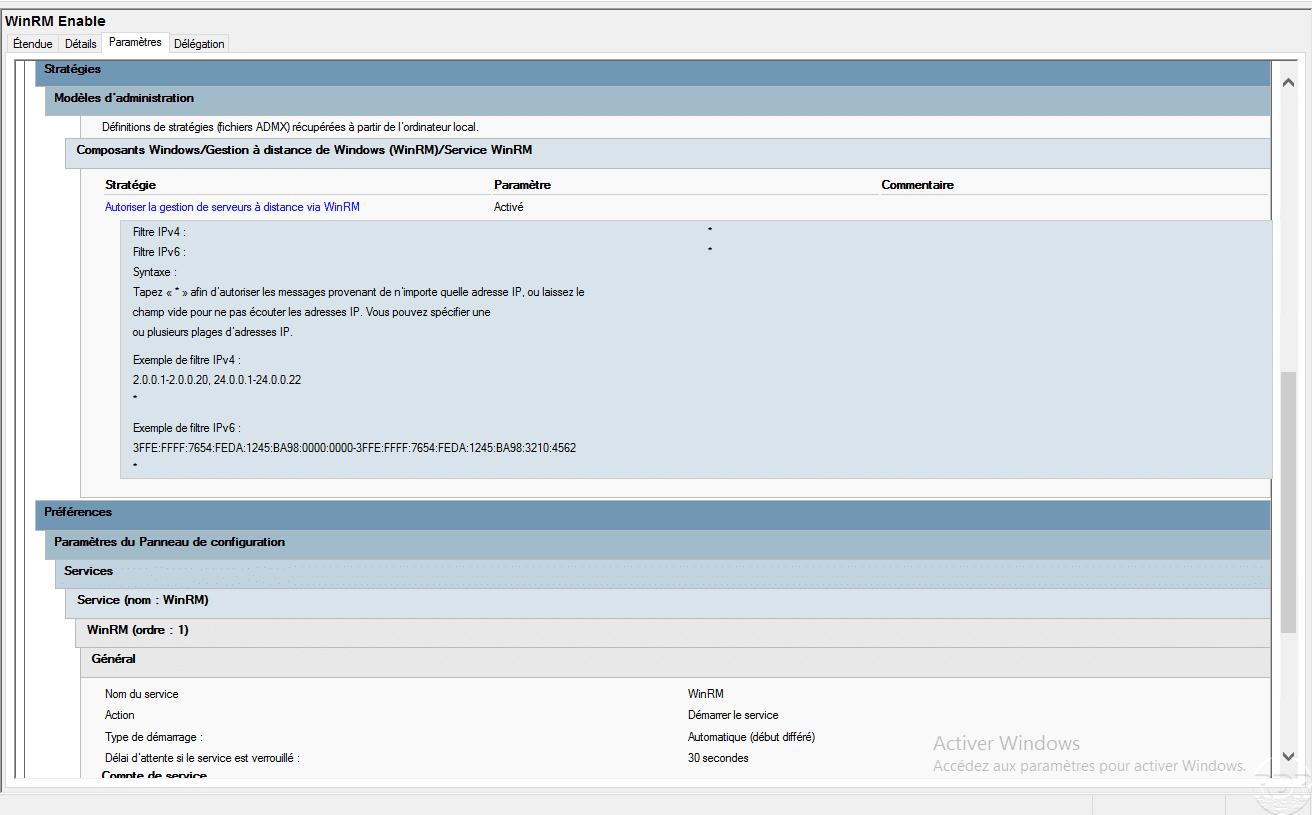GPO : Activation et configuration de WinRM – Gestion à distance