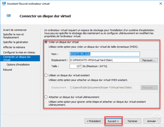 Configure virtual disk