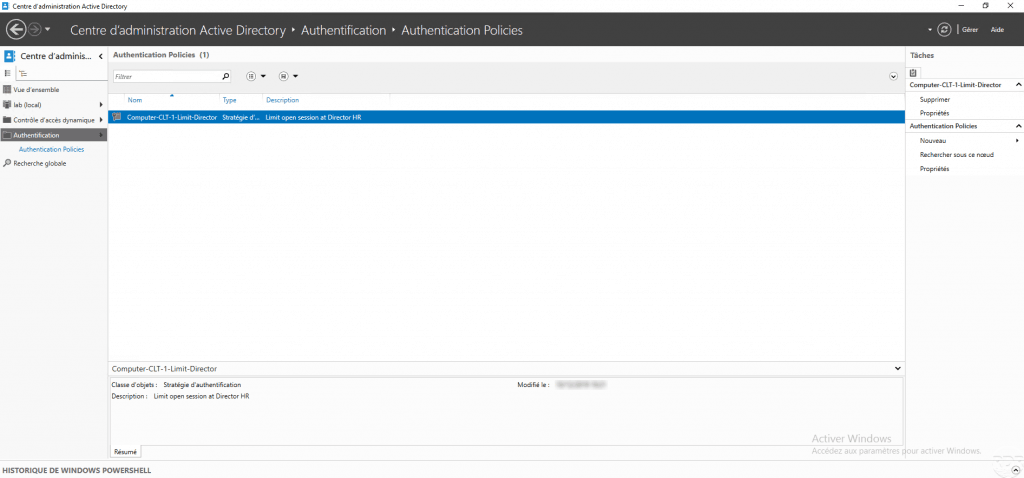 Active Directory : stratégie d'authentification